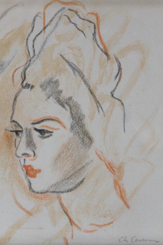 Portrait à la coiffe - crayon - 17.5 x 15 cm