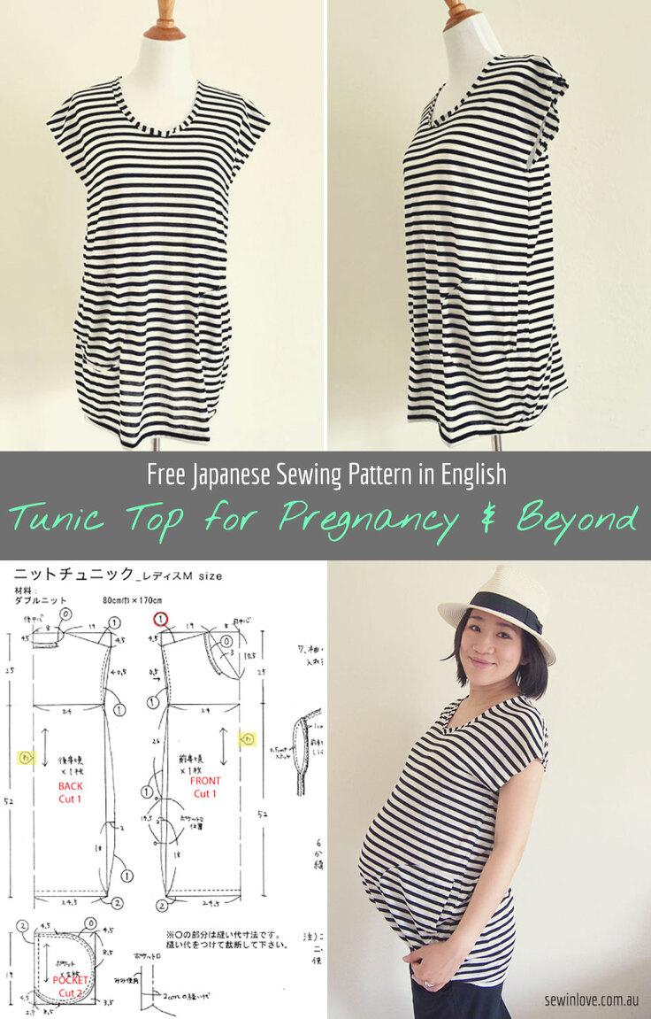 Dessus de couture japonais gratuit en anglais - Haut de tunique à rayures.  Ce haut est fait de tissu tricot et a deux poches avant.  La longueur et l'ajustement lâche le rendent approprié avant, pendant et après la maternité.  Plus sur www.sewinlove.com.au