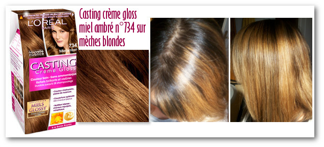 Coloration miel sur cheveux chatain