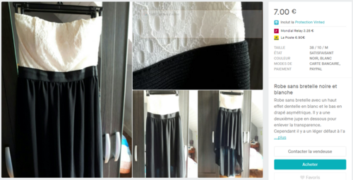Robe sans bretelle noire et blanche