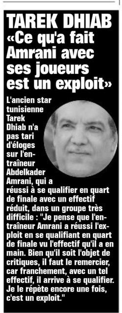 Tarek Dhiab encense Amrani