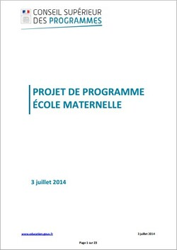 projet programme maternelle