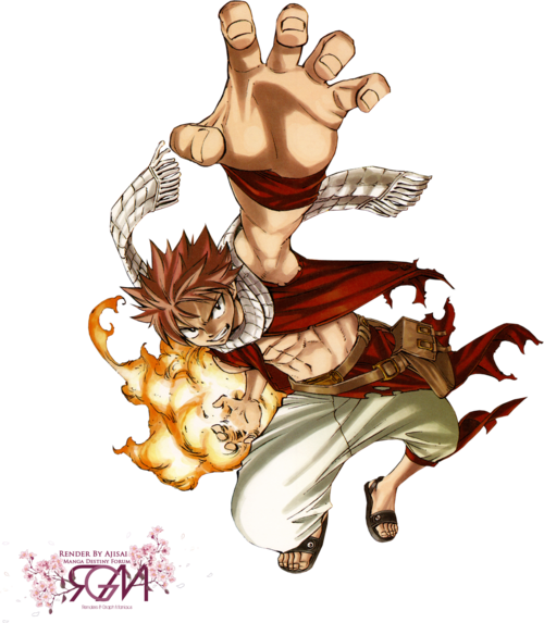 ::Power:: fairy tail render natsu dragnell flammes garçon cheveux rose dragon
