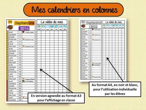 Les calendriers en colonnes