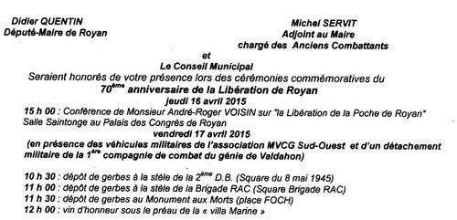 17 Avril prochain - La Mairie de Royan commémore sa Libération (2e D.B. 1ère D.F.L.)