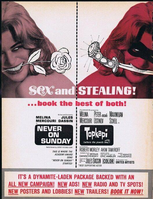NEVER ON SUNDAY / TOPKAPI BOX OFFICE USA 1965