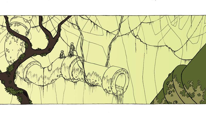 Tuyaux et forêt - colorisation