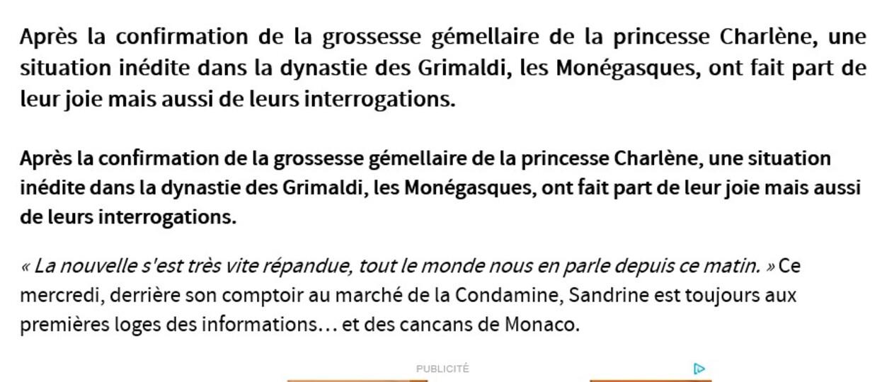 Souvenirs: article de Monaco Matin à l'annonce d'une future naissance de jumeaux