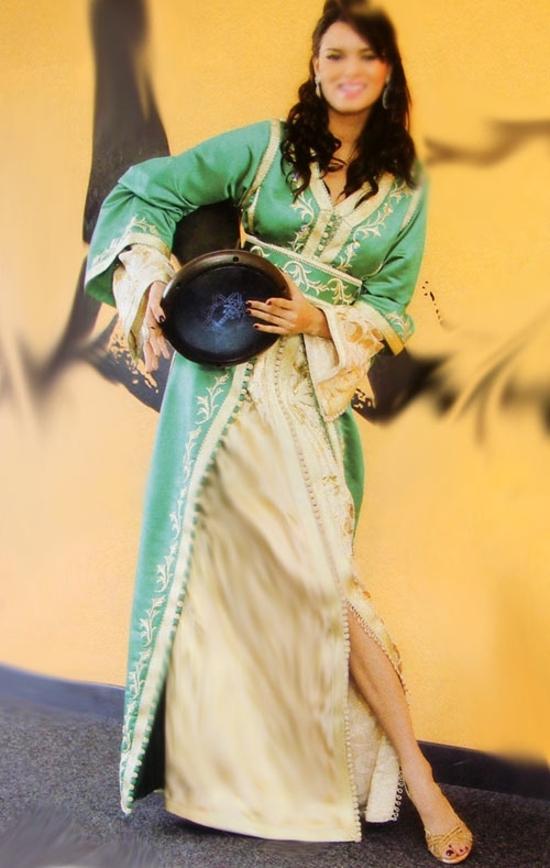 takchita marocian pour ceremonie de hénné en vert sfifa fil d'or et broderie : TAK-S627B