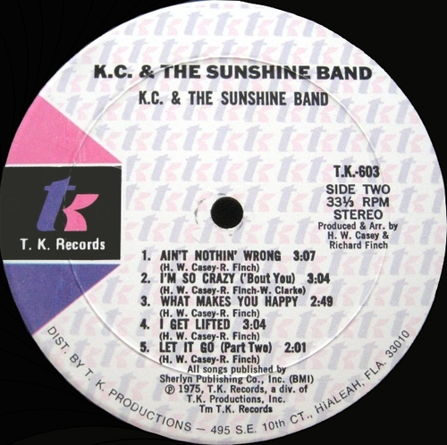 "K.C. & The Sunshine Band : Album "" KC & The Sunshine Band "" T.K. Records TK 603 [ US ]"