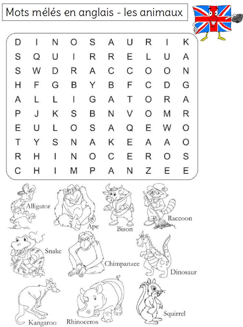 Bien connu Mots mélés sur le vocabulaire en anglais - L'école de Crevette KL08