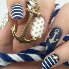 Image de nails, blue, and white