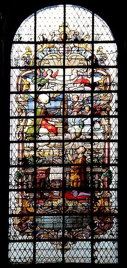 Witraż,ステンドグラス,Glasmalerei,belgie,花窗玻璃, belgium, Mons ,Belgique,orlande de lassus, Stained Glass of the Chapel of Saint Agapit ,église Saint-Nicolas-en-Havré, Vitrail ,chapelle Saint-Agapit , 1894, ,Roland de Lassus , musicien montois , sainte Cécile
