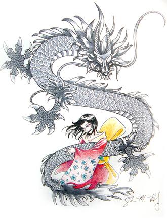 Une geisha dans la nuit