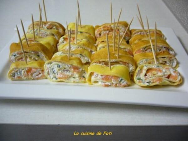 Roulés de crêpes au saumon