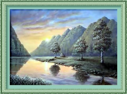 Dessin et peinture - vidéo 2225 : Comment imaginer un coucher de soleil, sur un lac de montagne, à la peinture acrylique 3 ?