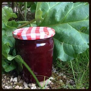Confiture cerise & rhubarbe, vanille