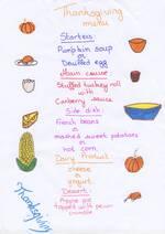 Thnaksgiving menu