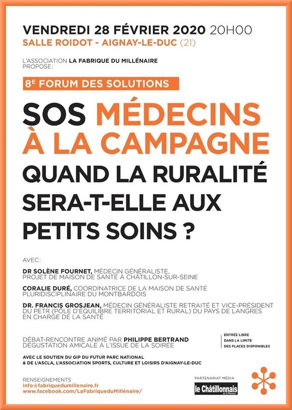 """Le prochain """"forum du Millénaire"""" évoquera la présence de médecins en zone rurale, en poussant un cri d'alarme"""