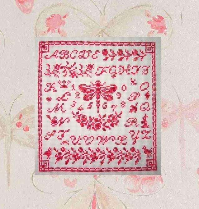 Midnight stitching, Dragonfly sampler (Karine)