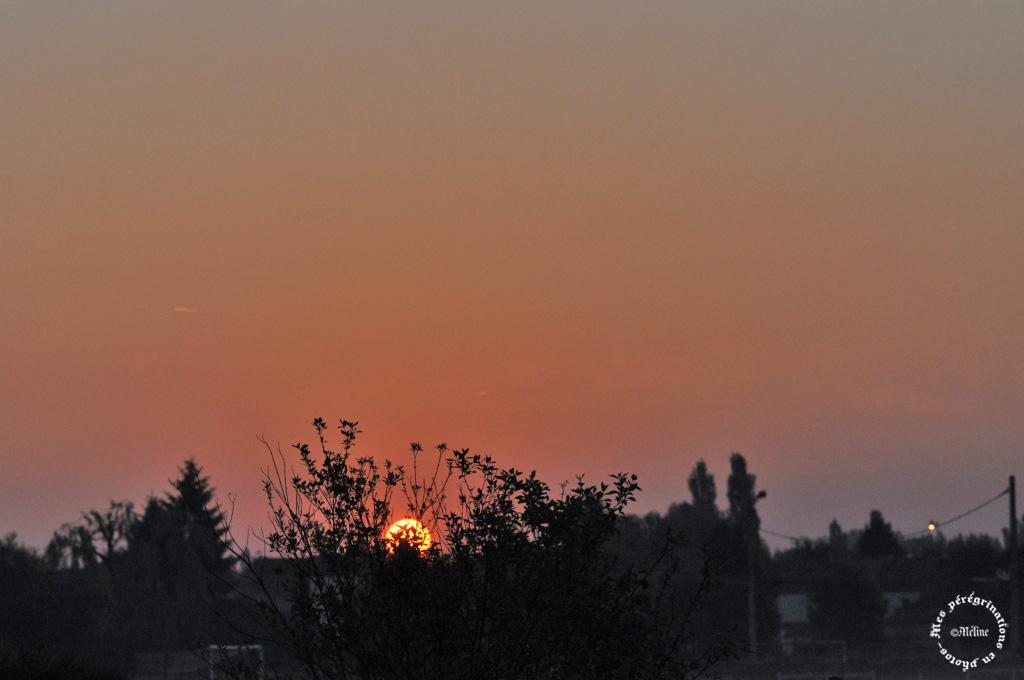 Le lever de soleil au bout de mon jardin ce matin !