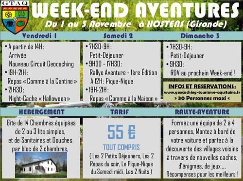 WEEK-END AVENTURES à Hostens, du 1er au 3 Novembre 2019