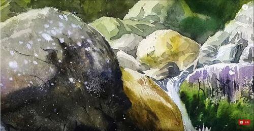 Dessin et peinture - vidéo 2963 : Comment peindre cascade et torrent de montagne ? - aquarelle.