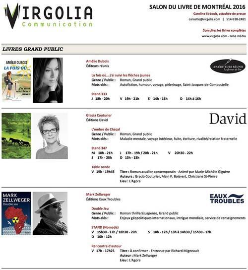 Salon du livre Montréal 18-21 nov