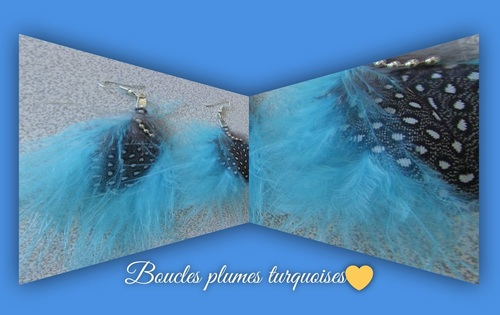 boucles plumes turquoises