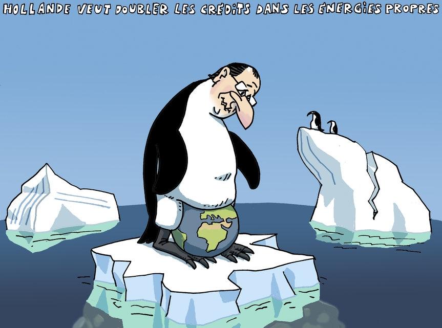 Hollande veut doubler les crédits dans les énergies propres.