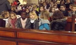 célébration à l'église et fête des parrains et marraines