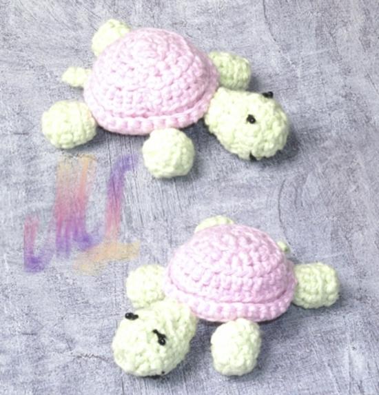 tortue rose-vert