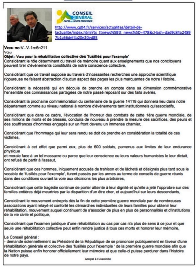 Réhabilitation des 639 fusillés pour l'exemple 1914-18: Lettre aux députées 04, Mmes Emmanuelle Fontaine-Domeizel et Delphine Bagarry
