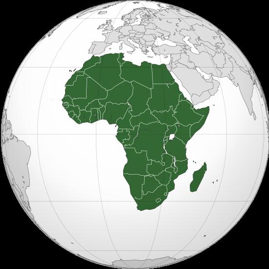 Carte de localisation de l'Afrique.