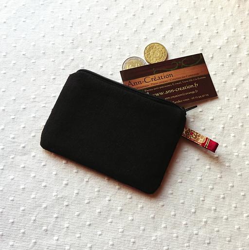 V2 - Petit Porte-monnaie tissu japonais coton imprimé floral Rouge / Vert et Or 12 x 8,5 cm, fermeture à glissière