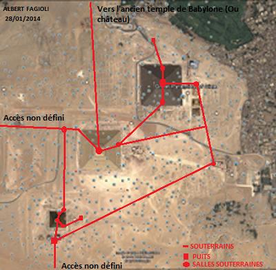 Voici le travail de recherche à distance concernant les vestiges se trouvant sous le plateau de Gizeh. (Google Earth)(28 janvier 2014) (Albert Fagioli)