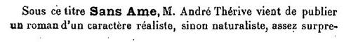 André Thérive, Sans Ame (Mercure de France 1 avril 1928)