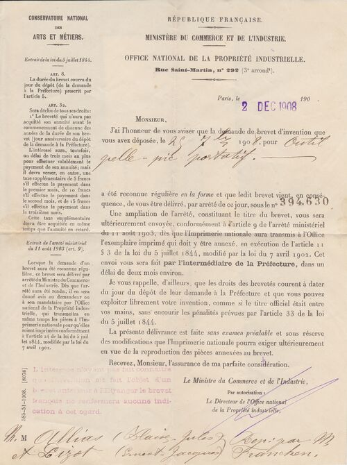 Le brevet de Jules Allias - accord