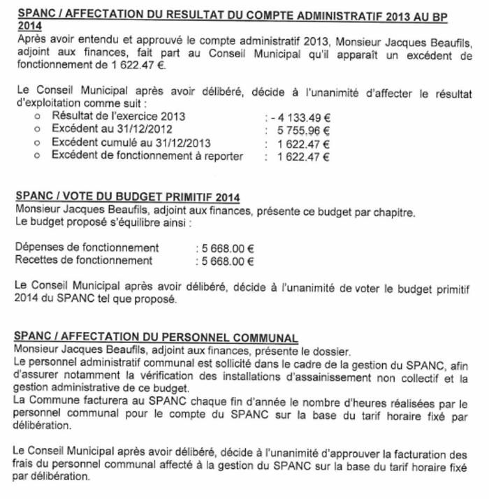 SPANC : Approbation du compte administratif 2013