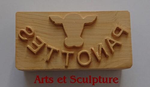 Tampon à beurre personnalisé en bois de hêtre, sculpture artisanale sur-mesure - Arts et Sculpture, sculpteur sur bois, artisan d'art