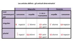 Les articles définis (gli articoli determinativi)