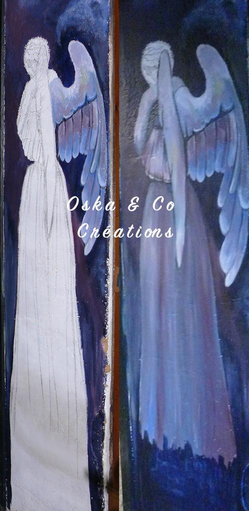 Tableau d'ange pleureur peint à même le mur (début de la mise en couleur)