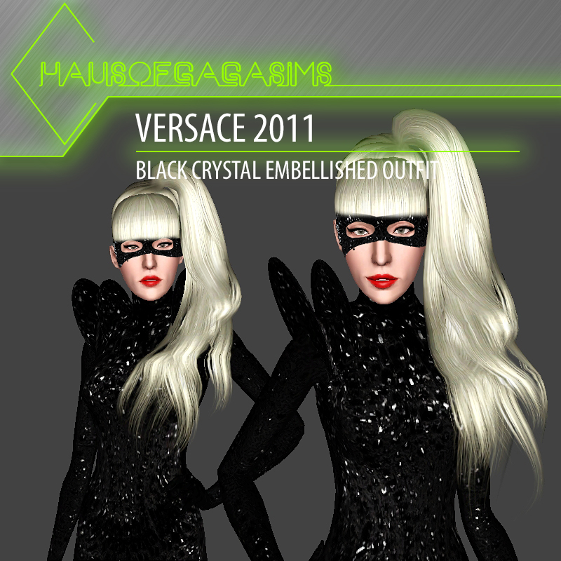 VERSACE 2011 BLACK CRYSTAL EMBELLISHED OUTFIT