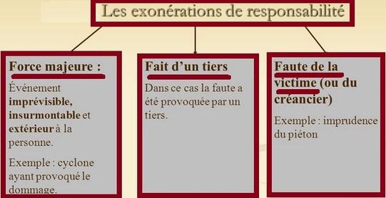 Les causes d'exonérations de responsabilité civile