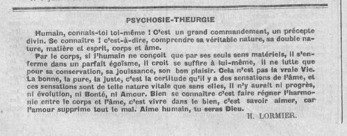 Connais-toi toi-même (Le Fraterniste, 15 août 1930)