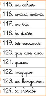 Listes de mots CE1 - vendredi 6 janvier