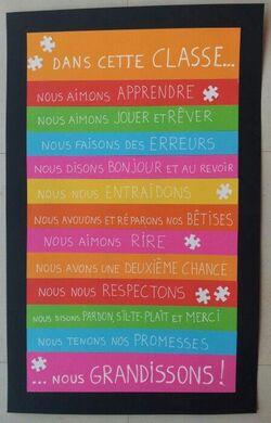 Des règles dans la classe