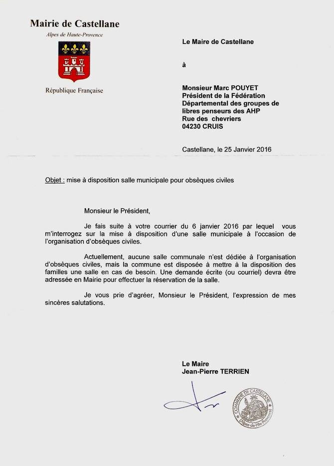 obsèques civiles: réponse commune de Castellane