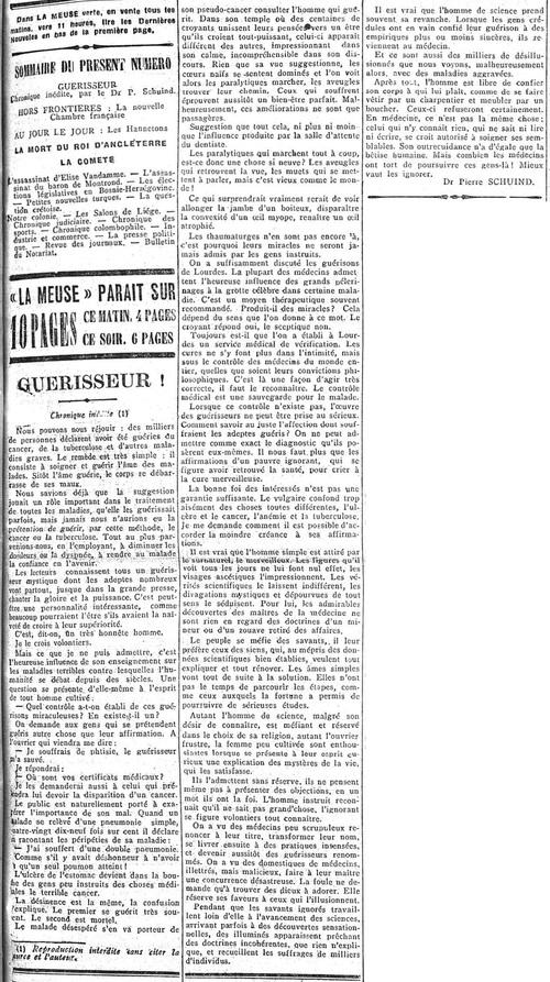 Dr. Pierre Schuind - Guérisseur (La Meuse, 20 mai 1910)(Belgicapress)