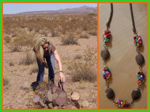 Cactus dans le désert du Nouveau Mexique - Sautoir coloré